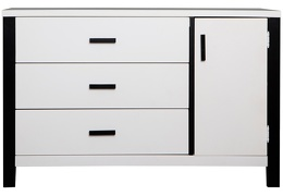 Cafeina 3 Drawer Chest Front Silo - Black and White