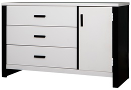 Cafeina 3 Drawer Chest Side Silo - Black and White