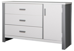 Cafeina 3 Drawer Chest Side Silo - White and Grey