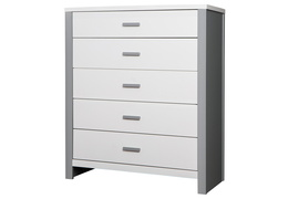 Cafeina 5 Drawer Chest Side Silo - White and Grey