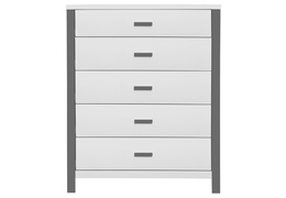 Cafeina 5 Drawer Chest Front Silo - White and Grey