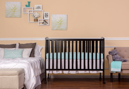 Black Folding Full size Crib Room Shot Front