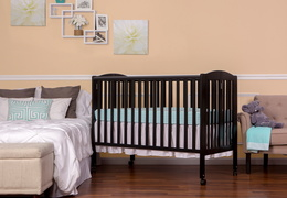 Black Folding Full size Crib Room Shot Side