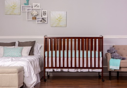 Espresso Folding Full size Crib Room Shot Front