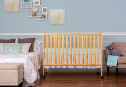 Natural Folding Full size Crib Room Shot Front