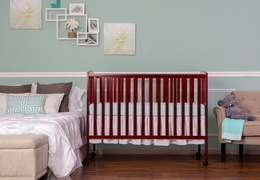 Cherry Folding Full size Crib Room Shot Front