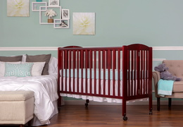 Cherry Folding Full size Crib Room Shot Side