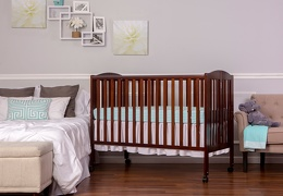 Espresso Folding Full size Crib Room Shot Side