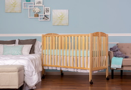 Natural Folding Full size Crib Room Shot Side
