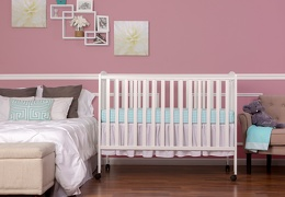 White Folding Full size Crib Room Shot Front