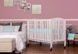 White Folding Full size Crib Room Shot Side