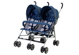 Grey and Navy Twin Stroller