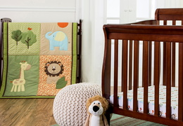 Safari Animals 3 Pc Reversible Portable crib set