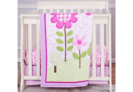 Spring Garden 3 Pcs Set Reversible Portable crib set