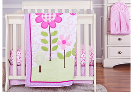 Spring Garden 5 Pc Set Reversible Portable crib set