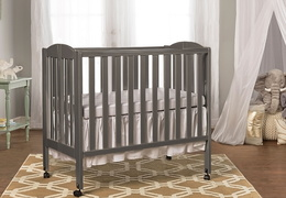Steel Grey 3 in 1 Folding Portable Crib Room Shot
