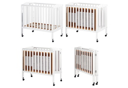 White 3 in 1 Folding Portable Crib Collage