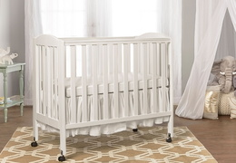 White 3 in 1 Folding Portable Crib Room Shot