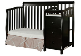 Black Jayden 4 in 1 Mini Convertible Crib and Changer Silo
