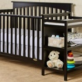 Black Chloe 5 in 1 Convertible Crib with Changer RoomShot