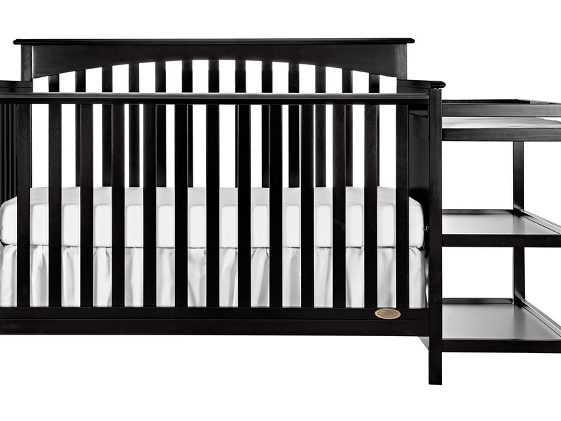 Black Chloe 5 in 1 Convertible Crib with Changer Silo Front