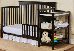 Black Chloe Toddler Bed with Changer RoomShot