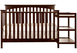 Espresso Chloe 5 in 1 Convertible Crib With Changer Silo Front