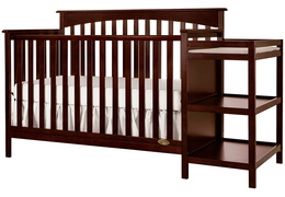 Espresso Chloe 5 in 1 Convertible Crib With Changer Silo Side
