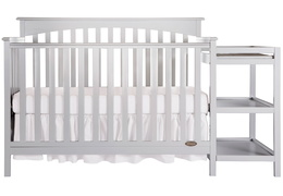 Grey Chloe 5 in 1 Convertible Crib With Changer Silo Front
