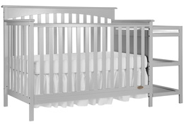 Grey Chloe 5 in 1 Convertible Crib With Changer Silo Side