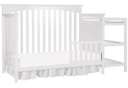 White Chloe Toddler Bed With Changer Silo