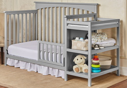 Grey Chloe Toddler Bed With Changer RoomShot