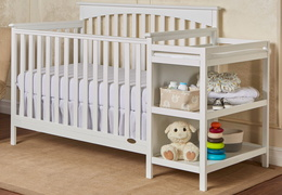 White Chloe 5 in 1 Convertible Crib With Changer RoomShot