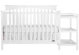 White Chloe 5 in 1 Convertible Crib With Changer Silo Front