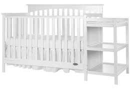 White Chloe 5 in 1 Convertible Crib With Changer Silo Side