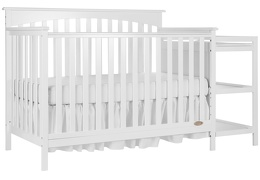 White Chloe 5 in 1 Convertible Crib With Changer Silo Side 1