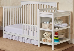 White Chloe Toddler Bed With Changer RoomShot