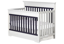 Platinum and Navy Chesapeake 5-In-1 Convertible Crib Side Silo