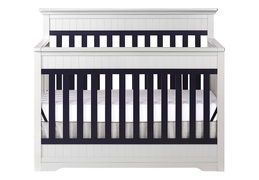 Platinum and Navy Chesapeake 5-In-1 Convertible Crib Front Silo