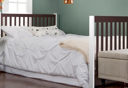 White and Chocolate Milano 5 in 1 Full Bed with Footboard Room Shot
