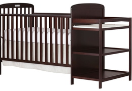 Cherry 4 in 1 Full Size Crib and Changing table Side Silo