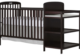 Espresso 4 in 1 Full Size Crib and Changing table Side Silo