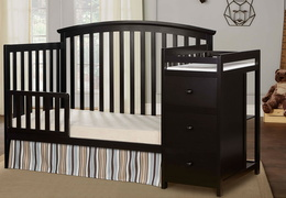 Black Niko Toddler Bed With Changer Roomshot