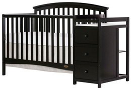 Black Niko 5 in 1 Convertible Crib With Changer Silo