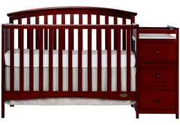 Cherry Niko 5 in 1 Convertible Crib With Changer Silo