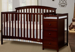 Espresso Niko 5 in 1 Convertible Crib With Changer Roomshot