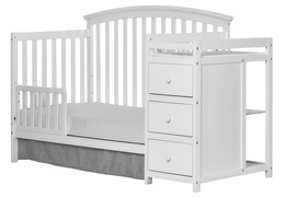 White Niko Toddler Bed With Changer Silo