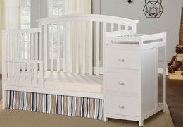 White Niko Toddler Bed With Changer Roomshot