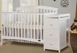 White Niko 5 in 1 Convertible Crib With Changer Roomshot