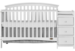 White Niko 5 in 1 Convertible Crib With Changer Silo